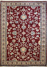 190x290 Pak Persian Area Rug with Wool Pile - Floral Design | 100% Original Hand-Knotted in Red,Beige,Green colors | a 183 x 274 Rectangular Rug