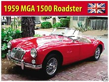 1959MGA 1500ROADSTER, British rot Sport Auto. Covertable/Soft Top. Für Haus, Home, Garage, Man Cave oder Pub. Metall/Stahl Wandschild, stahl, 30 x 40 cm