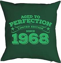 1968 geboren 50. Geburtstag Geschenk 1968 Jahrgang für Sie und Ihn Mann Frau Deko Kissen mit Innenkissen PERFECTION bedruckt Motiv Print 40x40cm : )