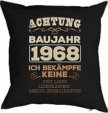 1968 Jahrgang zum 50. Geburtstag Geschenk 1968 geboren für Sie und Ihn Mann Frau Deko Kissen mit Innenkissen ACHTUNG BAUJAHR bedruckt Motiv Print 40x40cm : )