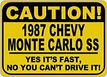 198787Chevy Monte Carlo SS Vorsicht Ihre schnelle Aluminium Achtung Schild