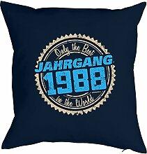 1988 Jahrgang 30. Geburtstag Geschenk für Sie und Ihn Mann Frau Deko Kissen mit Innenkissen BEST JAHRGANG 1988 bedruckt geboren 1988 Motiv Print 40x40cm : )
