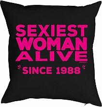 1988 Jahrgang zum 30. Geburtstag Geschenk Freundin für Sie Frau Deko Kissenbezug SEXIEST WOMAN bedruckt geboren 1988 Motiv Print Kissenhülle 40x40 cm : )
