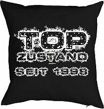 1998 geboren zum 19. Geburtstag Geschenk Freund für Ihn Mann Deko - Kissen mit Innenkissen - TOP ZUSTAND bedruckt Jahrgang 1998 Motiv Print 40x40cm : )