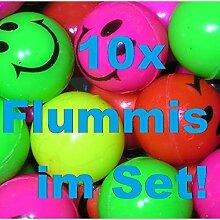 1a-becker 10x Bunte Flummis Smiley Gummiball