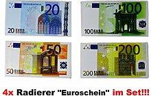 1a-becker 4er Set Radiergummis Euro Geld Scheine