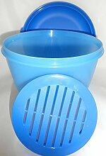 1a TUPPER A83 Salatschüssel FRISCHE PAVILLON mit Sieb und gewölbtem Deckel 2l --- blau