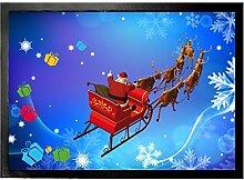 1art1 102140 Weihnachten - Der Weihnachtsmann Kommt Mit Seinem Rentier-Schlitten Fußmatte Türmatte 70 x 50 cm