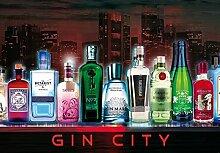 1art1 102166 Bars - Gin City, 3-Teilig Fototapete