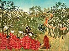1art1 102820 Henri Rousseau - Tropischer Wald Mit Affen, 1910, 2-Teilig Fototapete Poster-Tapete 240 x 180 cm