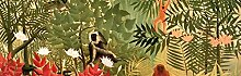 1art1 102821 Henri Rousseau - Tropischer Wald mit Affen, 1910, 1-Teilig Fototapete Poster-Tapete 250 x 79 cm