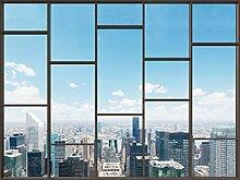 1art1 102826 Stadtbilder - Fenster Mit Ausblick Auf Die Skyline Der Großstadt, 2-Teilig Fototapete Poster-Tapete 240 x 180 cm