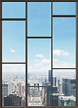 1art1 102827 Stadtbilder - Fenster Mit Ausblick Auf Die Skyline Der Großstadt, 2-Teilig Fototapete Poster-Tapete 250 x 180 cm