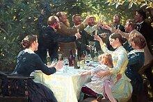 1art1 105100 Peter Severen Kroyer - Hip, Hip, Hurra! Künstlerfest In Skagen, 1888 Selbstklebende Fototapete Poster-Tapete 180 x 120 cm