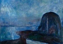 1art1 106071 Edvard Munch - Sternennacht, 1893, 3-Teilig Fototapete Poster-Tapete 360 x 250 cm