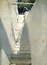 1art1 106389 John Singer Sargent - Treppenaufgang In Capri, 1878, 2-Teilig Fototapete Poster-Tapete 250 x 180 cm