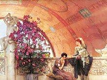 1art1 108967 Sir Lawrence Alma-Tadema - Unbewusste Rivalinnen, 1893, 2-Teilig Selbstklebende Fototapete Poster-Tapete 240 x 180 cm