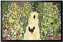 1art1 109389 Gustav Klimt - Gartenweg Mit Hühnern, 1916 Fußmatte Türmatte 60 x 40 cm