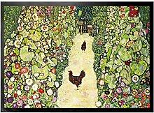 1art1 109390 Gustav Klimt - Gartenweg Mit Hühnern, 1916 Fußmatte Türmatte 70 x 50 cm