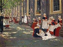 1art1 109609 Max Liebermann - Freistunde Im Amsterdamer Waisenhaus, 1881-1882, 2-Teilig Fototapete Poster-Tapete 240 x 180 cm
