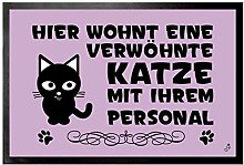 1art1 109755 Katzen - Hier Wohnt Eine Verwöhnte Katze Mit Ihrem Personal Fußmatte Türmatte 60 x 40 cm
