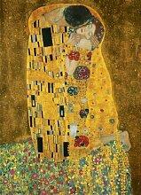 1art1 40518 Gustav Klimt - Der Kuss 4-teilig, Fototapete Poster-Tapete (254 x 183 cm)