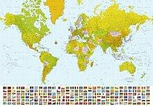 1art1 40558 Weltkarten - Weltkarte, Flaggen 8-teilig, Fototapete Poster-Tapete (368 x 254 cm)