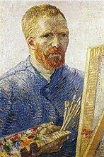 1art1 53341 Vincent Van Gogh - Selbstbildnis Vor Der Staffelei, 1888 Selbstklebende Fototapete Poster-Tapete 180 x 120 cm