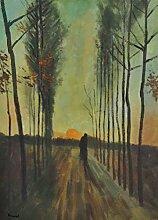 1art1 57772 Vincent Van Gogh - Pappelallee Bei Sonnenuntergang, 1884, 2-Teilig Selbstklebende Fototapete Poster-Tapete 250 x 180 cm