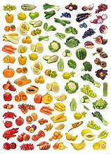 1art1 73169 Kochkunst - Regenbogen Aus Obst Und Gemüse, 2-Teilig Fototapete Poster-Tapete 250 x 180 cm