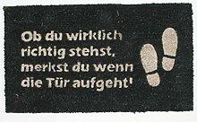 1art1 79854 Fun - Ob Du Wirklich Richtig Stehst, Merkst Du Wenn Die Tür Aufgeht, Retro Fußmatte Türmatte 70 x 40 cm