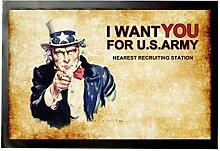 1art1 92053 Uncle Sam - I Want You For U.S. Army Fußmatte Türmatte 60 x 40 cm