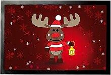 1art1 92273 Weihnachten - Rudolph Das Rentier Mit Lampe Fußmatte Türmatte 60 x 40 cm