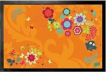 1art1 93604 Blumen - Blumenfantasie Mit Eulen Und Schmetterlingen Fußmatte Türmatte 60 x 40 cm