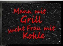 1art1 93738 Spaß - Mann Mit Grill Fußmatte Türmatte 70 x 50 cm