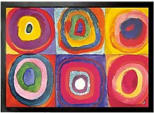 1art1 93758 Wassily Kandinsky - Farbstudie, Quadrate Mit Konzentrischen Ringen, 1913 Fußmatte Türmatte 70 x 50 cm