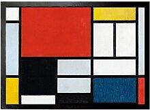 1art1 93766 Piet Mondrian - Komposition Mit Großer Roter Fläche, 1921 Fußmatte Türmatte 70 x 50 cm