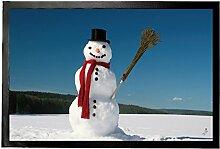 1art1 94483 Winter - Schneemann Mit Rotem Schal In Winterlandschaft Fußmatte Türmatte 60 x 40 cm