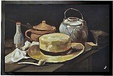 1art1 94813 Vincent Van Gogh - Stillleben Mit Gelbem Strohhut, 1885 Fußmatte Türmatte 60 x 40 cm