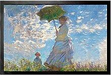 1art1 96609 Claude Monet - Frau Mit Sonnenschirm, Madame Monet Mit Ihrem Sohn, 1875 Fußmatte Türmatte 60 x 40 cm