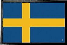 1art1 97086 Schweden - Flagge Fußmatte Türmatte