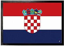1art1 97119 Kroatien - Flagge Fußmatte Türmatte