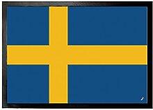 1art1 97124 Schweden - Flagge Fußmatte Türmatte 70 x 50 cm