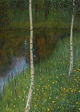 1art1 99504 Gustav Klimt - Seeufer Mit Birken, 1901, 2-Teilig Fototapete Poster-Tapete 250 x 180 cm