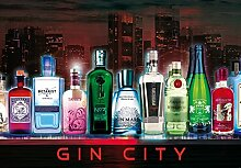 1art1 Bars - Gin City, 3-Teilig Selbstklebende