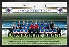 1art1 Fußball Poster und MDF-Rahmen - Rangers