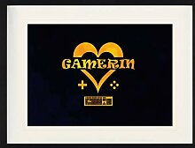 1art1 Gaming - Gamerin Gerahmtes Bild Mit Edlem