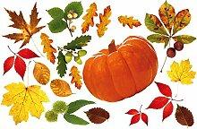 1art1 Herbst - Kürbis Und Herbstlaub Aufkleber