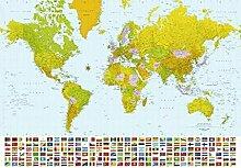 1art1 Karten, Weltkarte, Flaggen, 8-teilig
