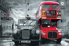 1art1 London, Taxi, Roter Bus, Big Ben,